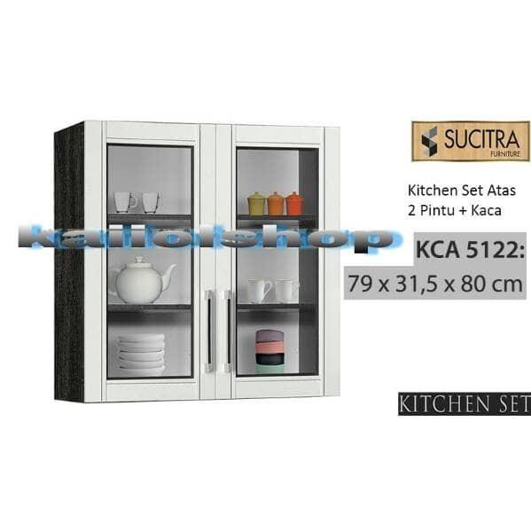 Jual Kitchen Set Atas Rak Lemari Gantung 2 Pintu Kaca Kca 5122