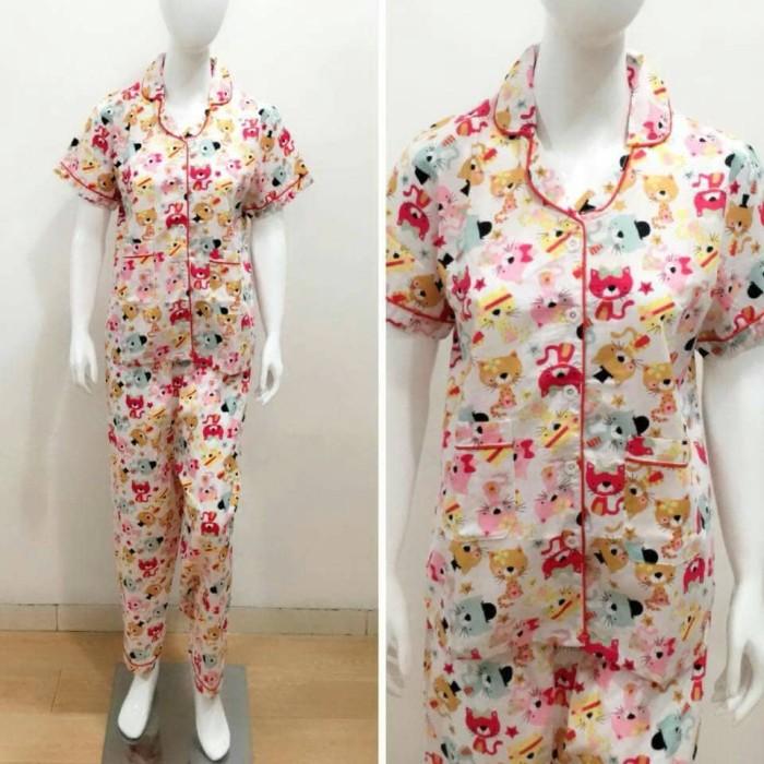 Jual Baju tidur dewasa wanita piyama dewasa motif Rainbow cat white ... f6f35a80d8