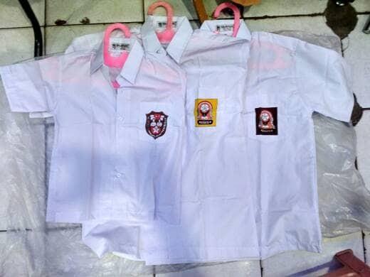 harga (size 15, 16) baju seragam sekolah sd smp sma lengan pendek mampank Tokopedia.com
