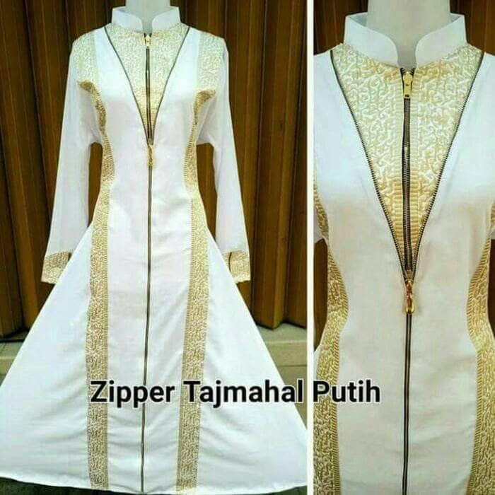 Jual Abaya Gamis Dress Gaun Pesta Ziper Tajmahal Putih Silver Dan