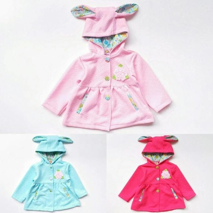 Jaket Hoodie Anak Perempuan Cewek Waffle Bunga Tudung Telinga Kelinci