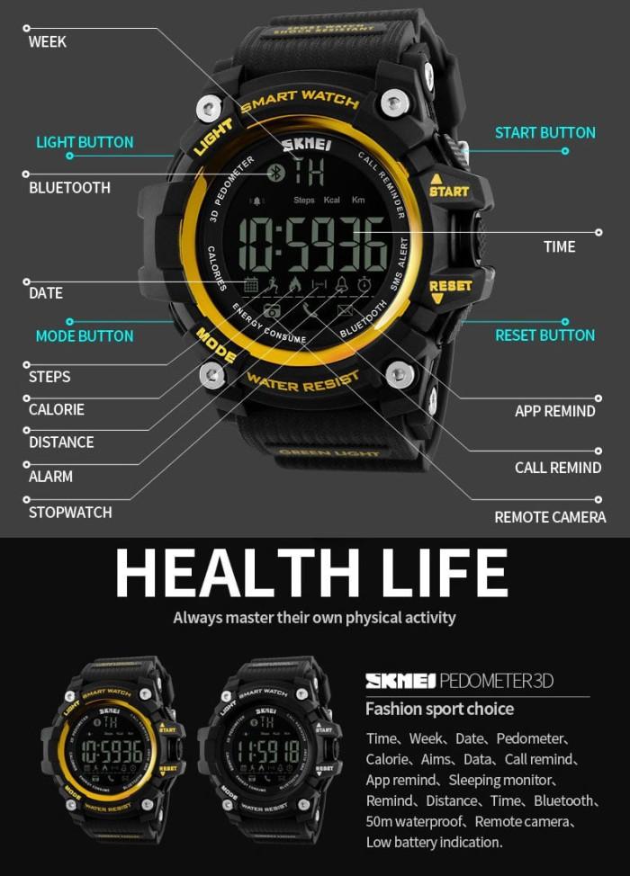 Jam Tangan Pria Ori Smart Watch SKMEI 1227 Bluetooth Pedometer-Black . ac5ce227b5