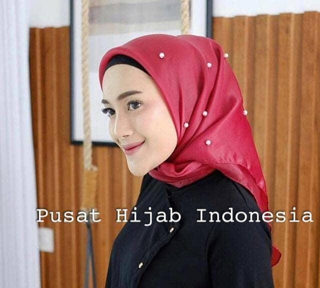 Hijab jilbab organza silk tunik mutiara