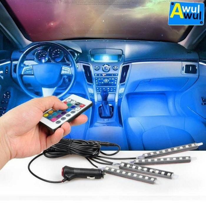 harga 4pcs lampu led kolong dashboard multicolor rgb dengan remote control Tokopedia.com