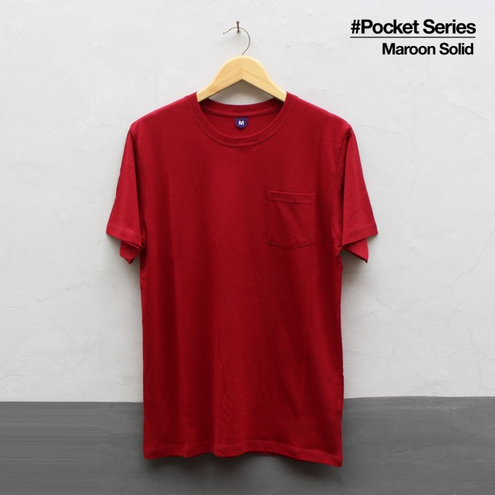Jual Kaos Polos Tshirt Pocket Maroon Solid Maroon Solid L Kab