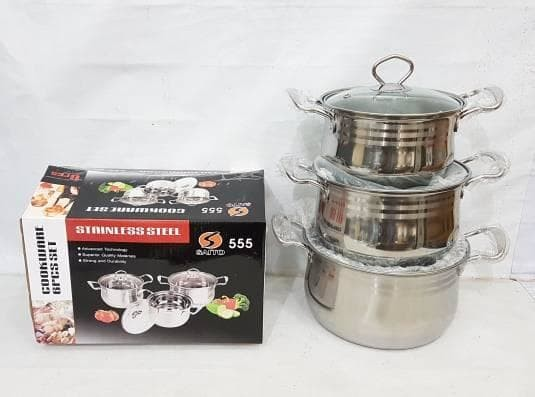 Jual Panci Stainless Steel Saito 555 6pcs Set - Kab ...