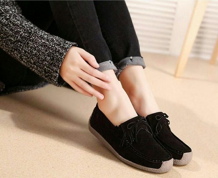 harga Sepatu wanita flatshoes gaga hitam sepatu kets sneakers wanita murah  Tokopedia.com a2f9925fec