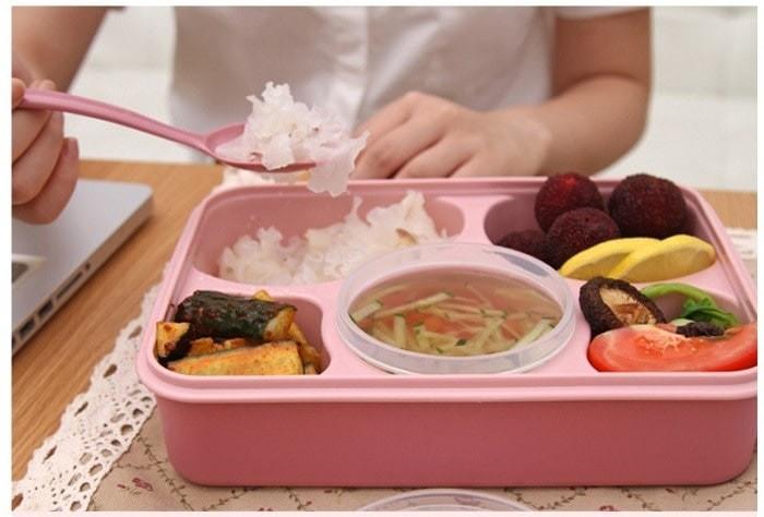 Lunch box kotak makan sudah ada tempat sup merk yooyee 5 sekat bento