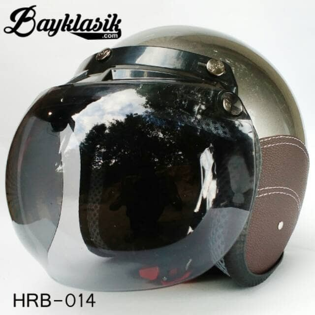 Best Quality Helm Retro Bogo Silver SK Cokelat 1
