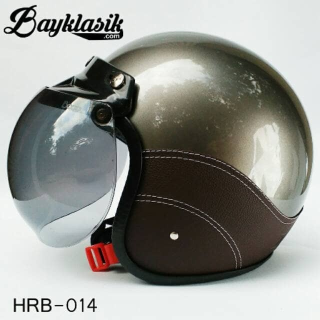 Best Quality Helm Retro Bogo Silver SK Cokelat 2