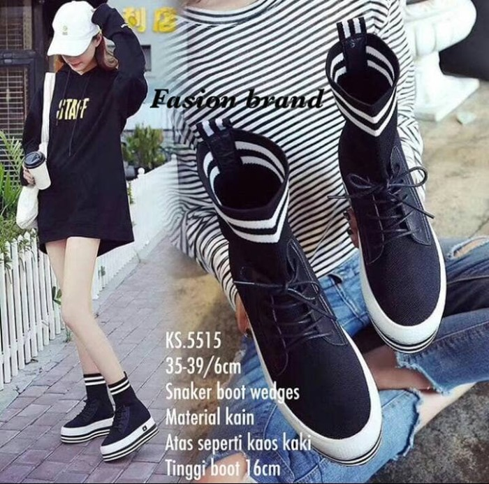 harga Sneakers boots wedges ks 5515 tinggi boots 16cm atas seperti ka Tokopedia.com