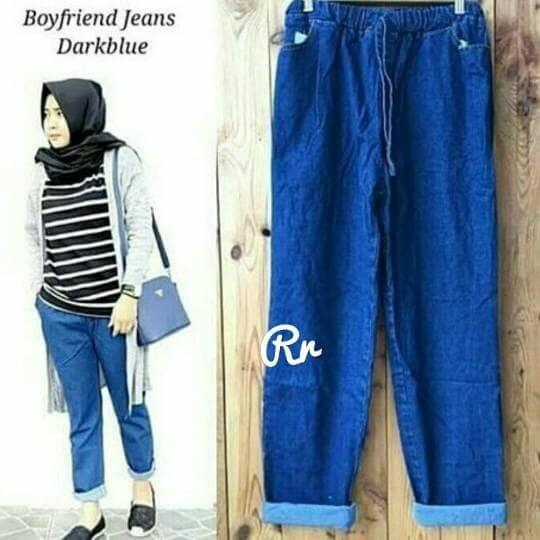 Jual Girlfriend Baggy Jeans Dark Celana Jeans Longgar Tebal Bagus