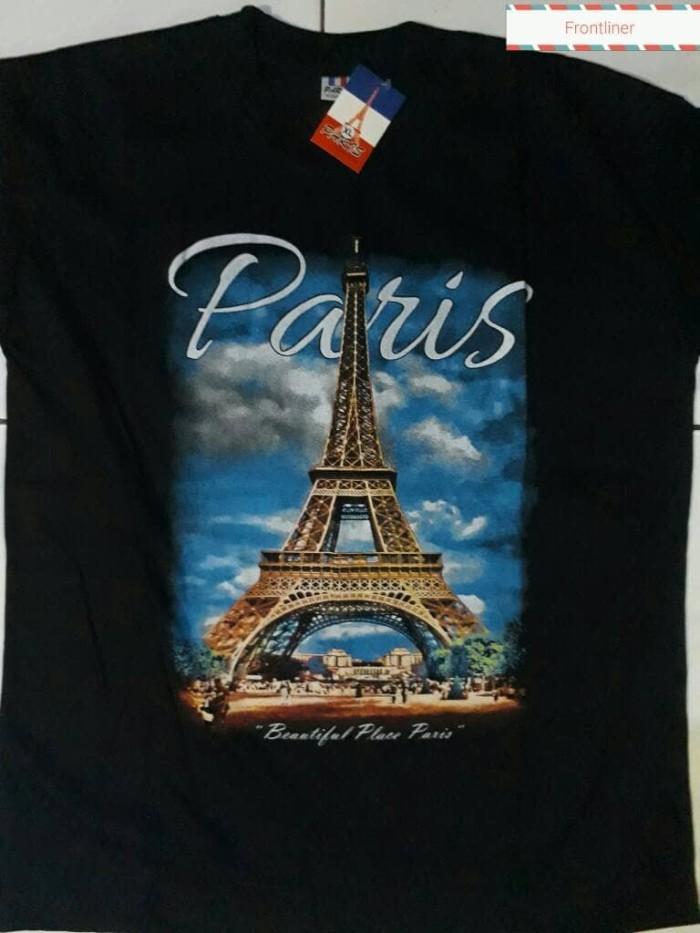 Kaos souvenir paris hitam new motif l xl
