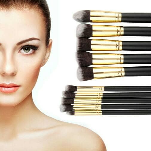 Make up professional brush 10 in 1 black gold plus pouch