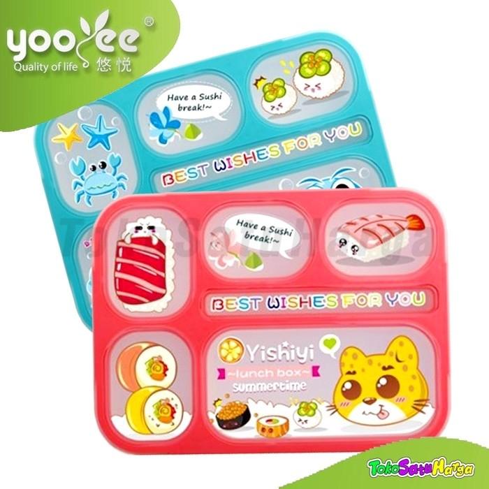 Lunch box kotak makan yooyee bento karakter yishiyi 6 sekat anti bocor