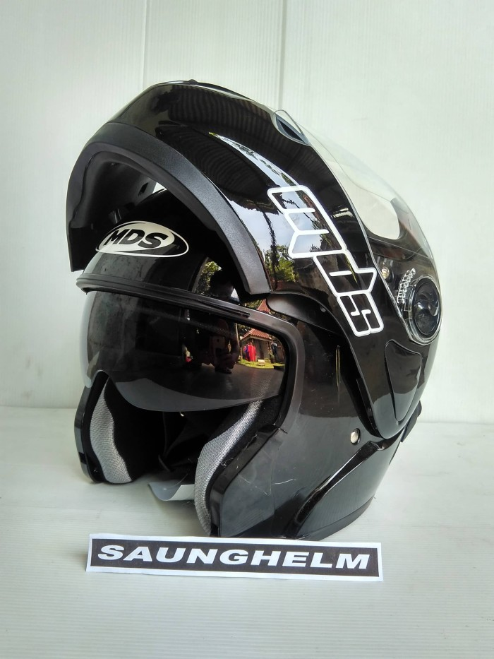 harga Helm mds pro rider flip up solid black glossy Tokopedia.com