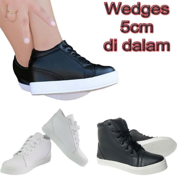 Sepatu Sneakers Hidden Wedges Boots cewek   Sneaker Wanita Tinggi 5cm ecd91ea004