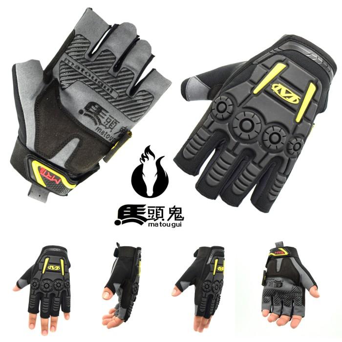 Sarung tangan rider kulit mtg001 gloves pendek hitam pengendara motor