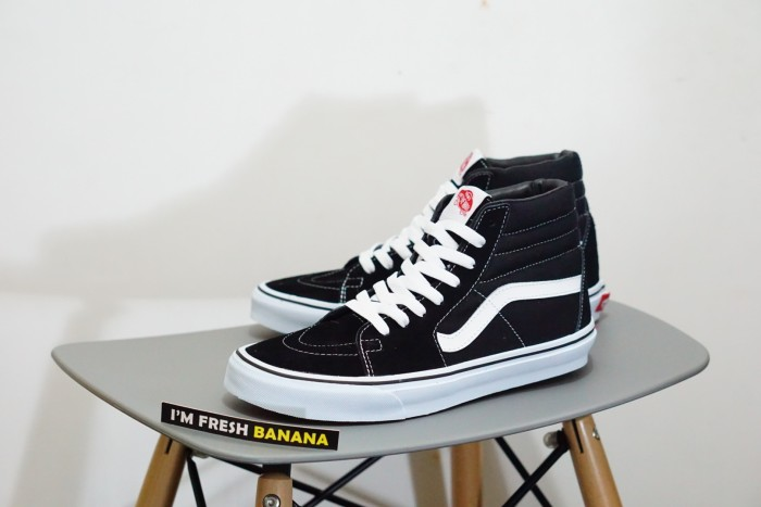 Jual Sepatu Vans Sk8 Hi Black White HIgh DT Premium