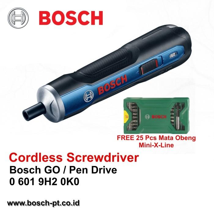 harga Cordless screwdriver / obeng bosch go + mata obeng 25 pcs mini-x-line Tokopedia.com