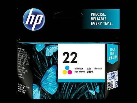 TINTA PRINTER HP 22 TRI-COLOUR INK CARTRIDGE ORIGINAL