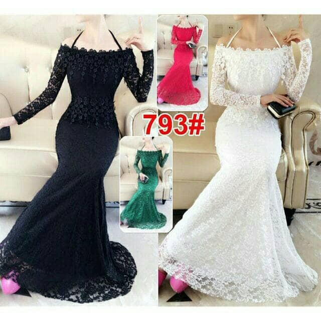 harga Long dress pesta 793# brukat import Tokopedia.com