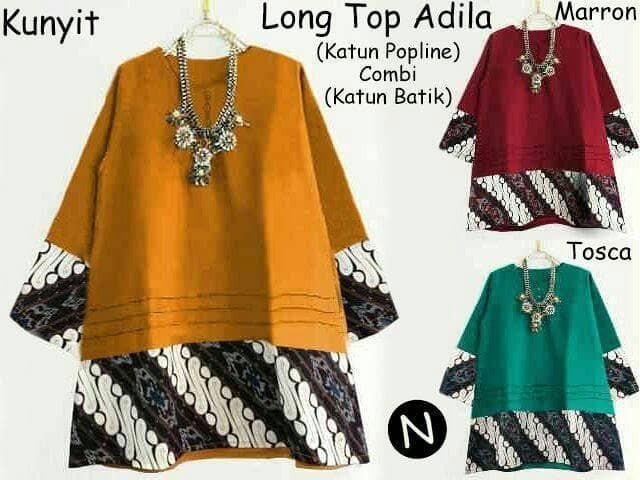 58207 Long Top Adila/baju Batik/baju Tunik/atasan Muslim Wanita Grosir