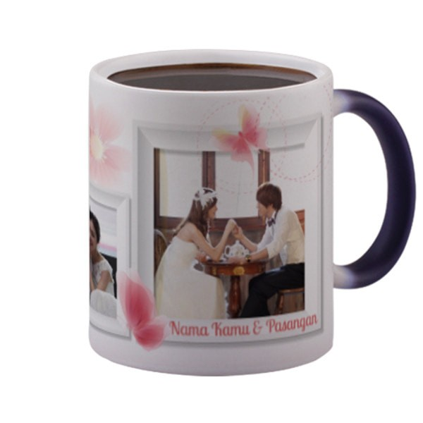 harga Custom magic mug pink flowers (berubah warna) foto couple & nama Tokopedia.com