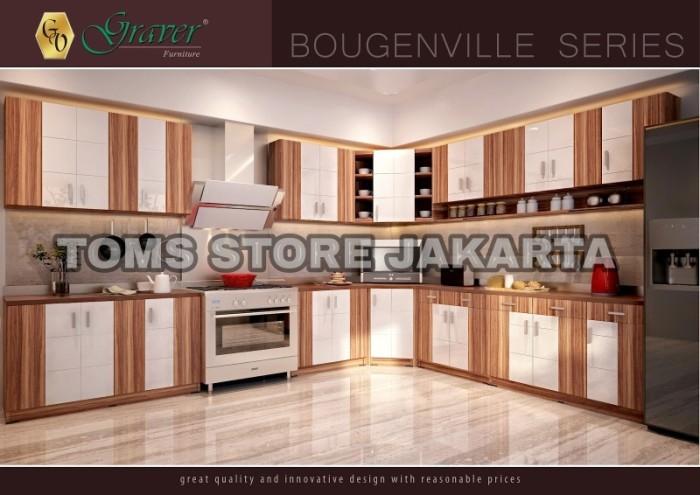 Jual Lemari Gantung Kitchen Set Atas 3 Pintu Rak Bumbu Bougenville