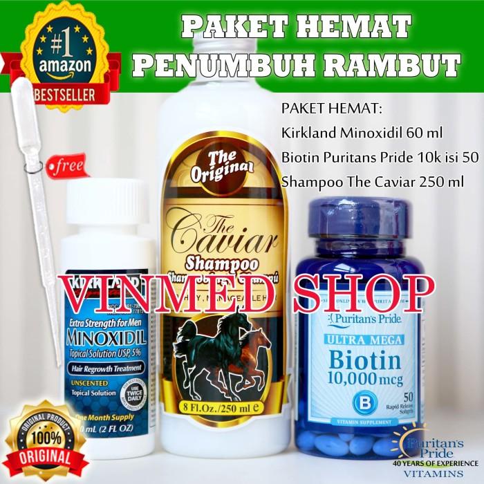 harga Kirkland minoxidil +biotin 10k isi 50 +shampo kuda the caviar 250 ml Tokopedia.com