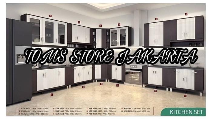 Jual Kitchen Set Atas 3 Pintu Kaca Ananta Lemari Gantung Rak