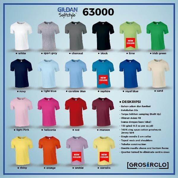Modis Kaos polos Import GILDAN SOFTSTYLE 63000 ORIGINAL
