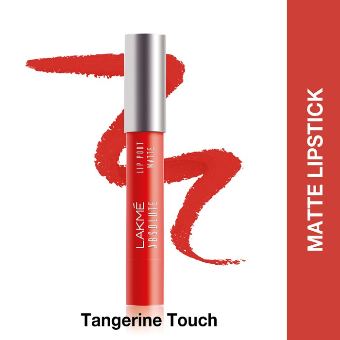 lakme absolute reinvent lip pout matte tangerine touch