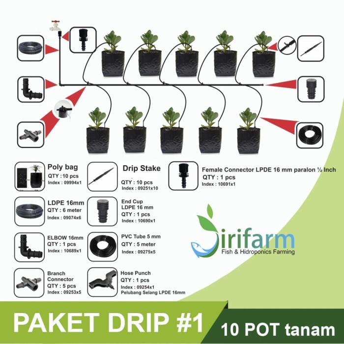 Jirifarm Paket #1 Sistem Drip Irigasi 10 Pot