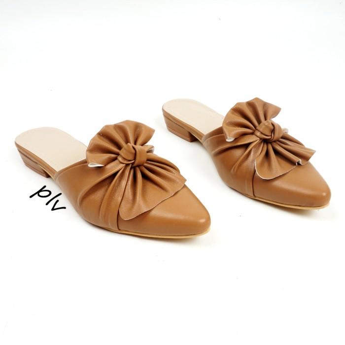 harga Sandal heels wanita ruffle bow kkb01 - camel Tokopedia.com