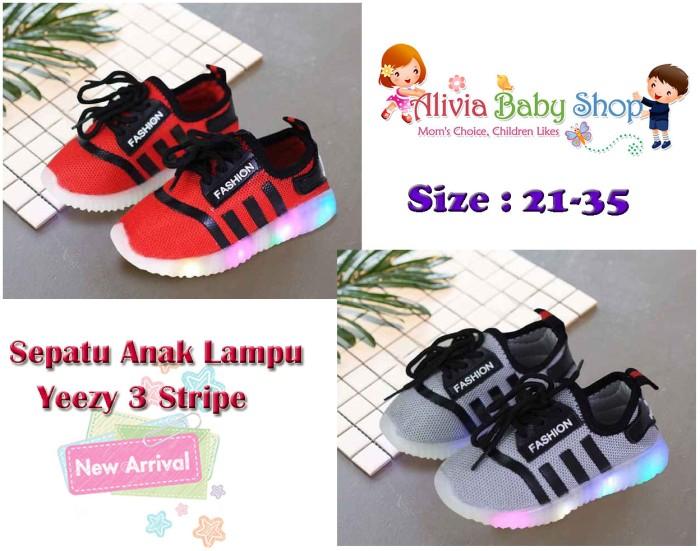 e4fa7601153 Jual Sepatu Anak Lampu LED Adidas Yeezy 3 Stripe SIZE 26-30 - Alivia ...