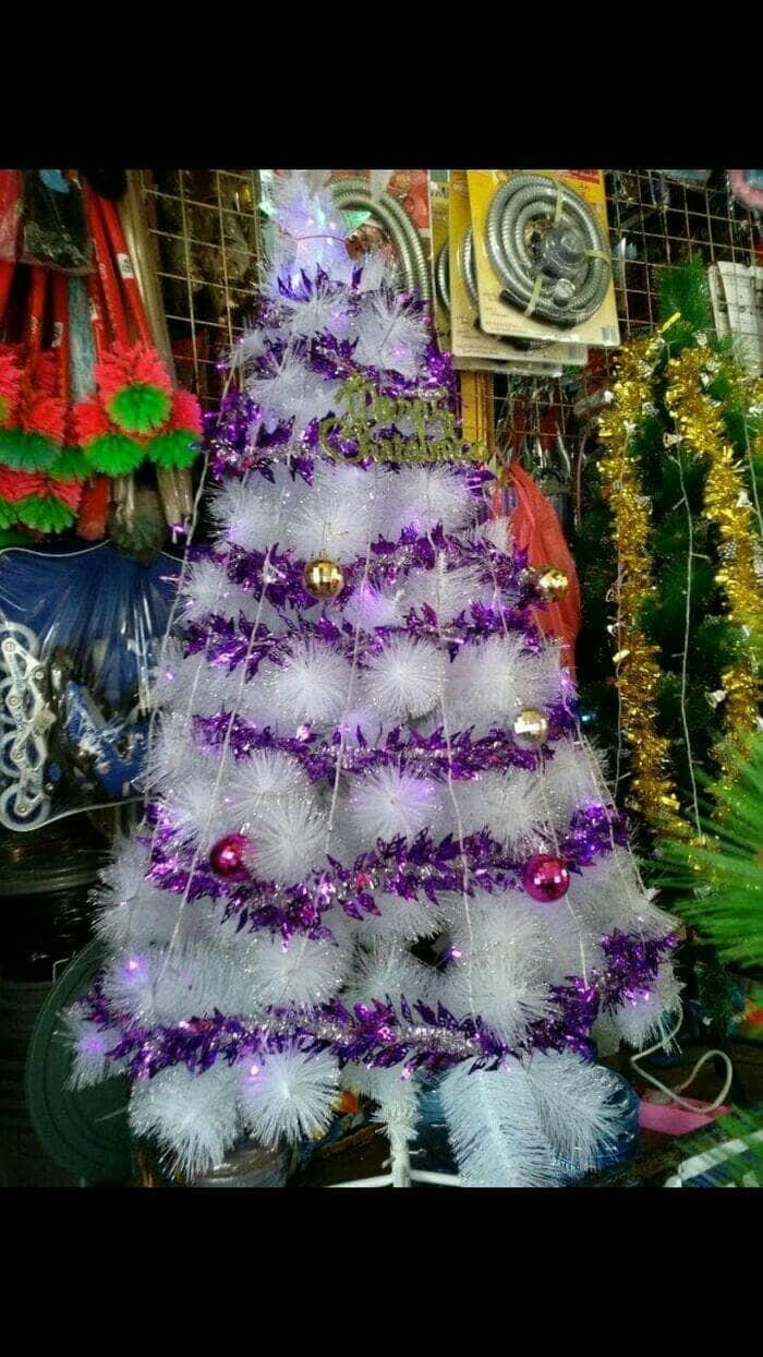 Jual Pohon Natal Putih Kitat 2 1meter 7feet Pohon Terang Christmas Kota Batam Barbay Store