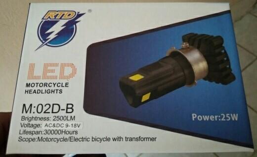 LED RTD M02E-B 3 SISI 25W AC DC LAMPU UTAMA H6 / H4 MOTOR MOBIL NO FAN