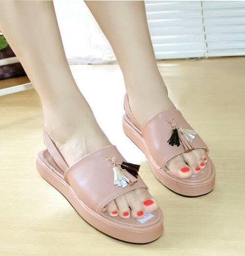 harga Sandal wanita slop rumbai sdl77 pink Tokopedia.com