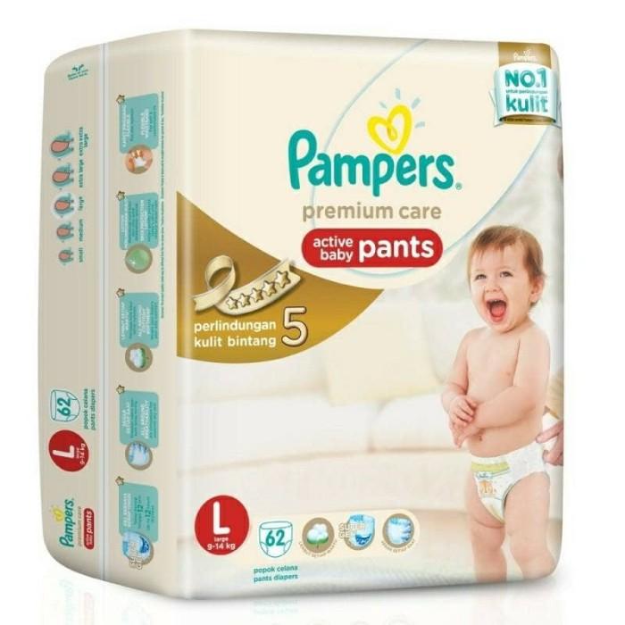 harga Pampers premium care active baby pants l62 (9-14 kg) Tokopedia.com