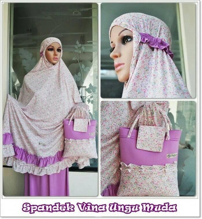 Mukena spandek sutra vina ungu. Fashion : Busana Muslim .