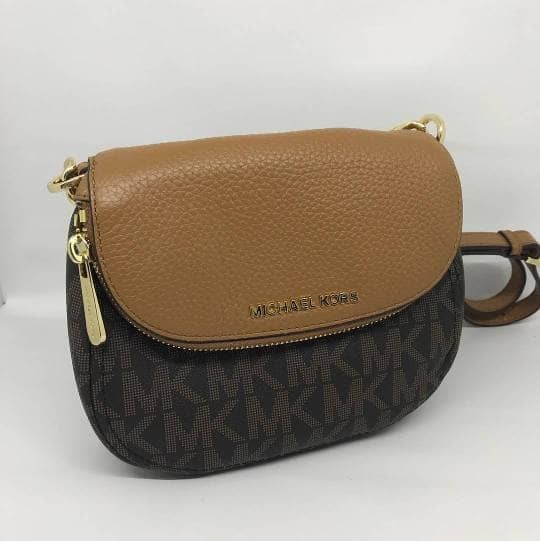2197901b59a ... cheapest tas michael kors original mk bedford flap crossbody signature  brown 2bd9f 2d94a