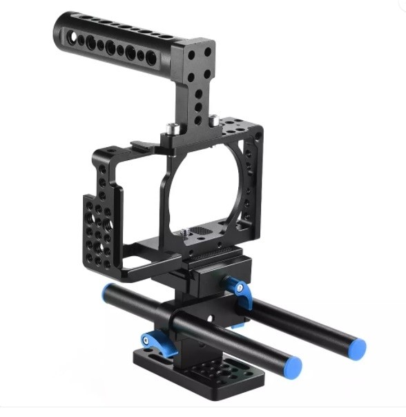 harga Andoer sony a6000 a6300 nex7 rig cage top handle base plate 15mm rod Tokopedia.com