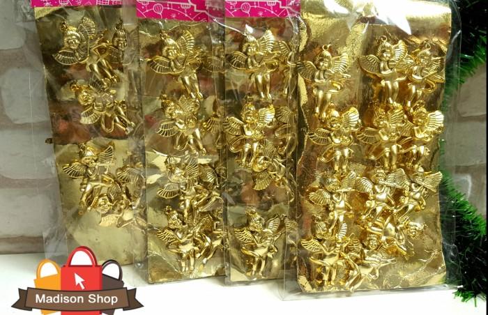 Isi 12 gantungan pohon natal malaikat christmas angel gold