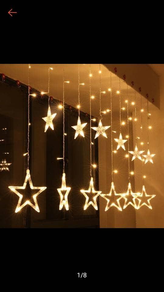 Jual Lampu Hias Natal Lampu Tirai Bintang 4 5 Meter Sambungan