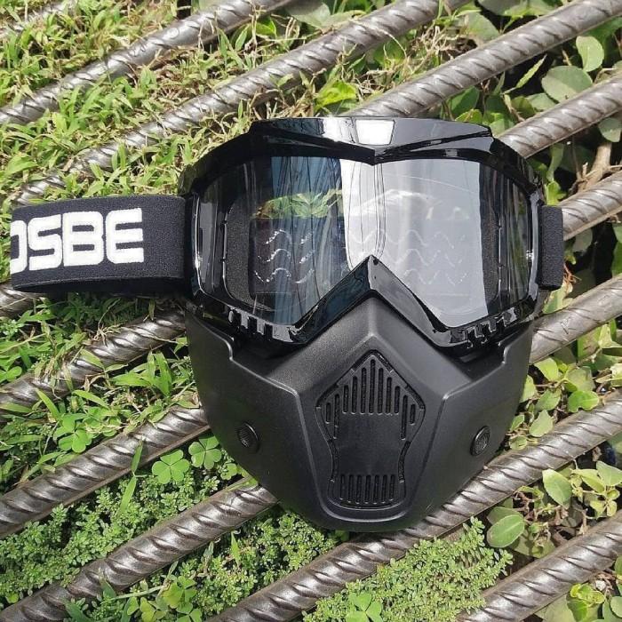 Kacamata helm bogo goglemask gogglemask osbe visor bening frame hitam