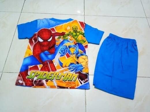 Setelan spiderman kaos oblong anak
