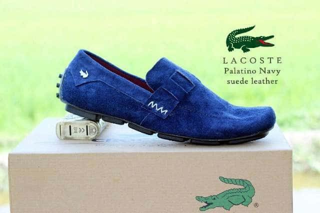 sepatu casual slop pria crocodile lacoste palatino navy suede kulit