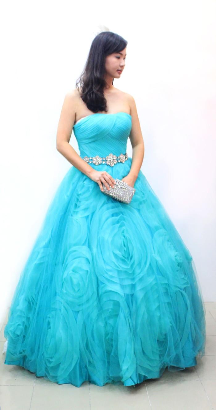 Jual Gaun Pesta Ballgown Hijau Tosca Desain Mawar Jakarta Utara Live Love Laugh Bridal