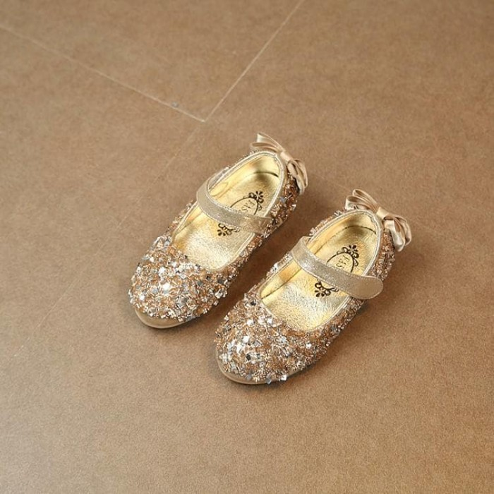 harga Sepatu flat anak perempuan import ribbon gold Tokopedia.com